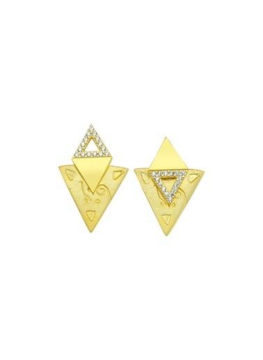 Bendis Design İkili Üçgen Küpe Altın